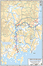 Map of the Korean War: Taegu-Pusan Area, U.N. Defense, Situation September 10, 1950, Operations Since August 27, 1950.