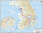 Map of the Korean War: South Korea. U.N. Offensive, Situation September 26, 1950, Operations Since September 15, 1950.