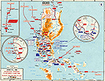 Map of World War II: Southeast Asia. Luzon, Philippines, Luzon, Philippines, Centrifugal Offensive, Operations December 10, 1941 - May 6, 1942.