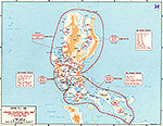 Map of World War II: The Philippine Islands, Luzon. Japanese Fourteenth Area Army, Dispositions Prior to January 9, 1945.