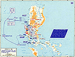 Map of World War II: The Philippine Islands, Luzon. Invasion of Luzon and the Advance to Manila, January 9 - February 4, 1945.