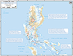 Map of World War II: The Philippine Islands, Luzon. Final Operations on Luzon February 3 - July 20, 1945.