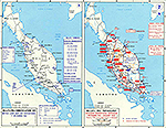 Map of World War II: Southeast Asia. Malaya December 1941 - January 1942.