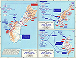 Map of World War II: The Pacific, Mariana Islands, Saipan, Tinian, Guam, June - August 1944.