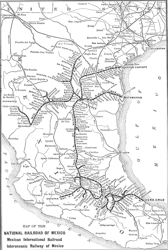 Map of Mexico's Railway System 1910 - 1920
