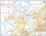 Map of WWII: Normandy Invasion. Saint-L� (St. Lo) and Vicinity. German Dispositions at the Night of 24/25 July 1944.