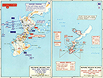 Map of World War II: The Pacific. Okinawa April 1-8, 1945.