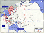 Map of WWII: The Far East and the Pacific. Allied Reorganization, March 30, 1942. Area Under Japanese Control, August 6, 1942.