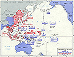 Map of World War II: The Far East and the Pacific. Summary of Allied Pacific Campaigns. Status of Japanese Forces, February 1, 1945.
