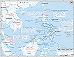 Map of World War II: Southeast Asia and the Pacific 1945. Final Allied Offensives in the Southwest Pacific Area, February 29 - July 1, 1945.
