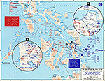 Map of World War II: The Philippine Islands: Leyte Island and the Visayas. Sixth Army Operations on Leyte and Samar, October 17 - December 30, 1944.