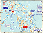 Map of World War II: The Philippine Islands: Leyte Island and the Visayas. Sixth Army Operations on Mindoro and Marinduque Islands, December 13, 1944 - January 24, 1945.