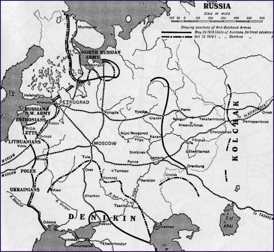 Map of the Russian Civil War 1917-1920: Farthest Advance of Anti-Bolshevik Forces