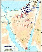 History Map of the Sinai Peninsula: Israel's War of Independence, The Six Day War, Penetrations, June 5-6, 1967.