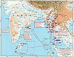 Map of World War II: Southern Asia. Japanese Centrifugal Offensive January - May 1942