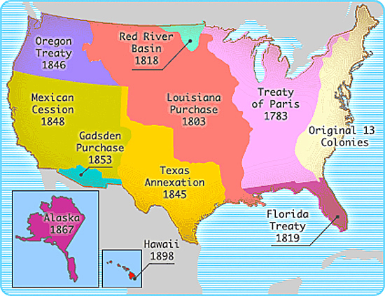 Map of the United States: Territorial Acquisitions