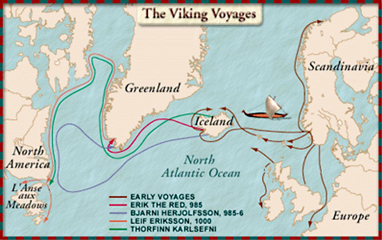Map of the Viking Voyages