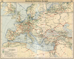 Mediaeval Commerce (Europe). Insets: England. Hanseatic League in Northern Germany.