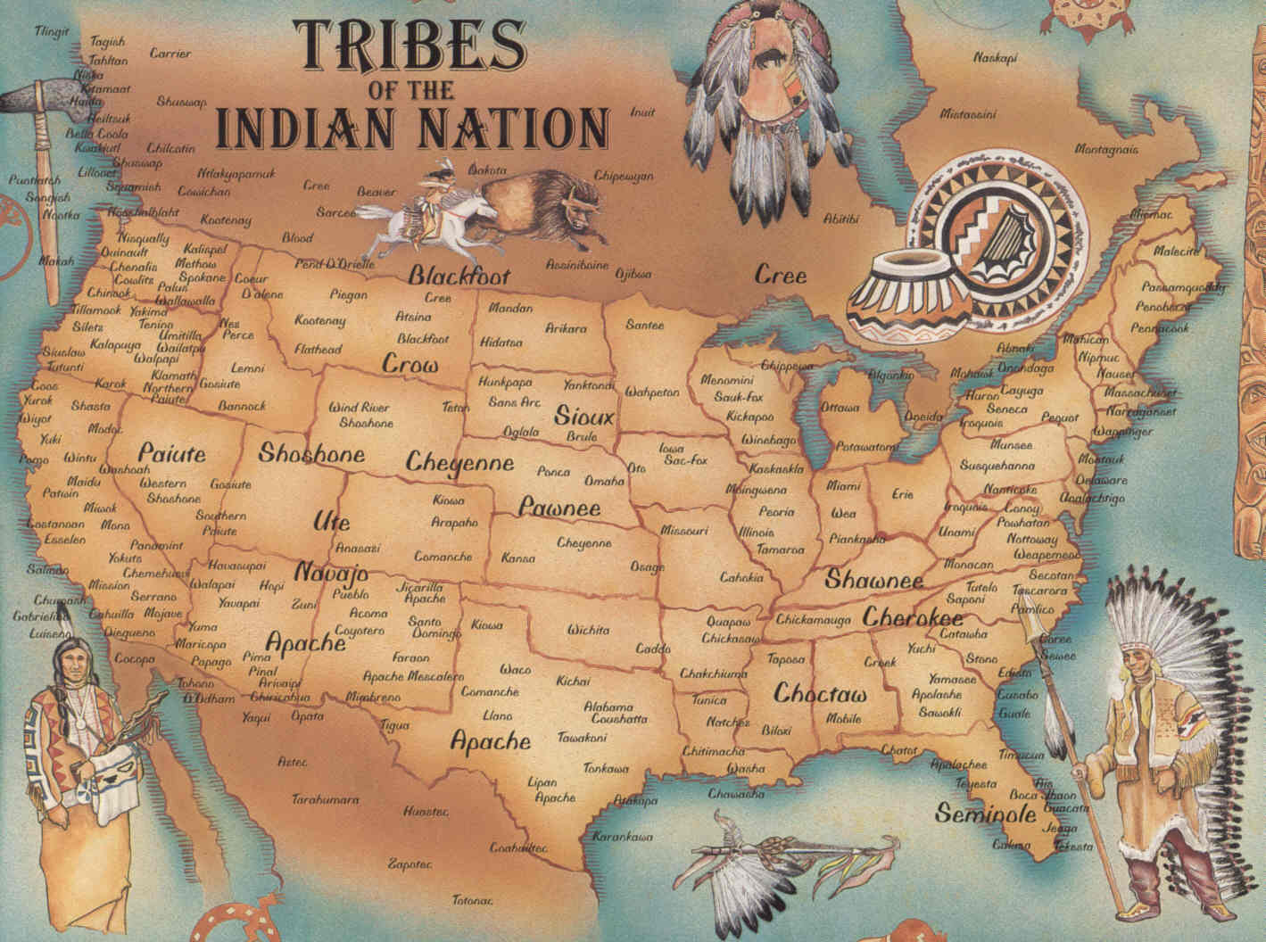 US: Native American Tribes - Map