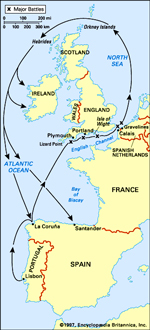 Route of Spanish Armada, 1588