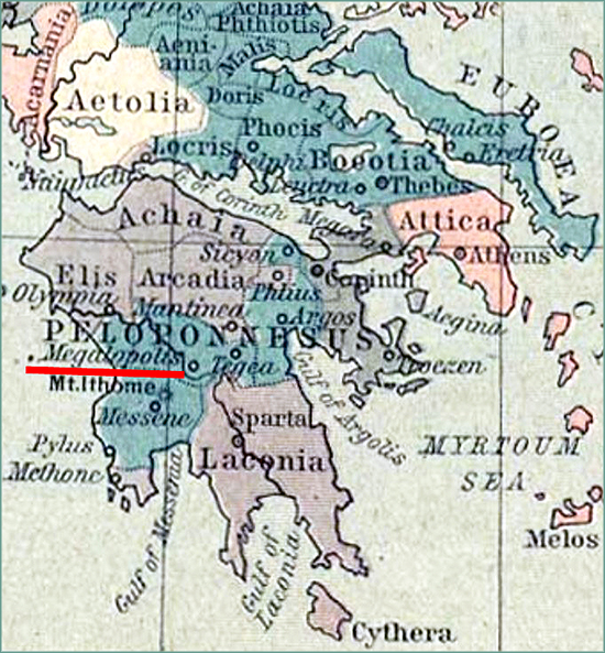 Map Location Megalopolis, Arcadia, Greece