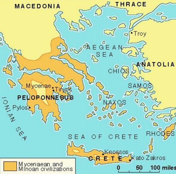 Map illustrating Mycenaean and Minoan Civilizations