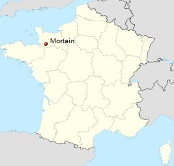 MAP LOCATION OF MORTAIN, FRANCE