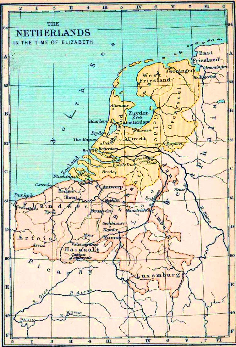 Map of the Netherlands in the time of Elizabeth