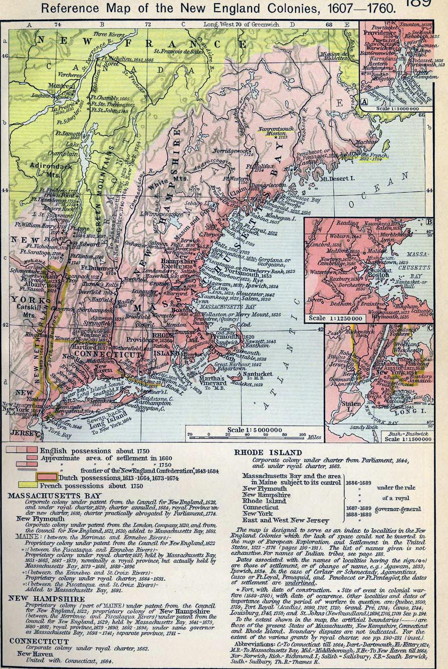 Map of the New England Colonies 1607-1760