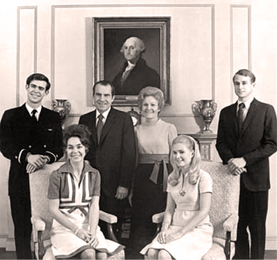 The Nixons - David and Julie Eisenhower, President and Mrs. Nixon, Tricia and Ed Cox
