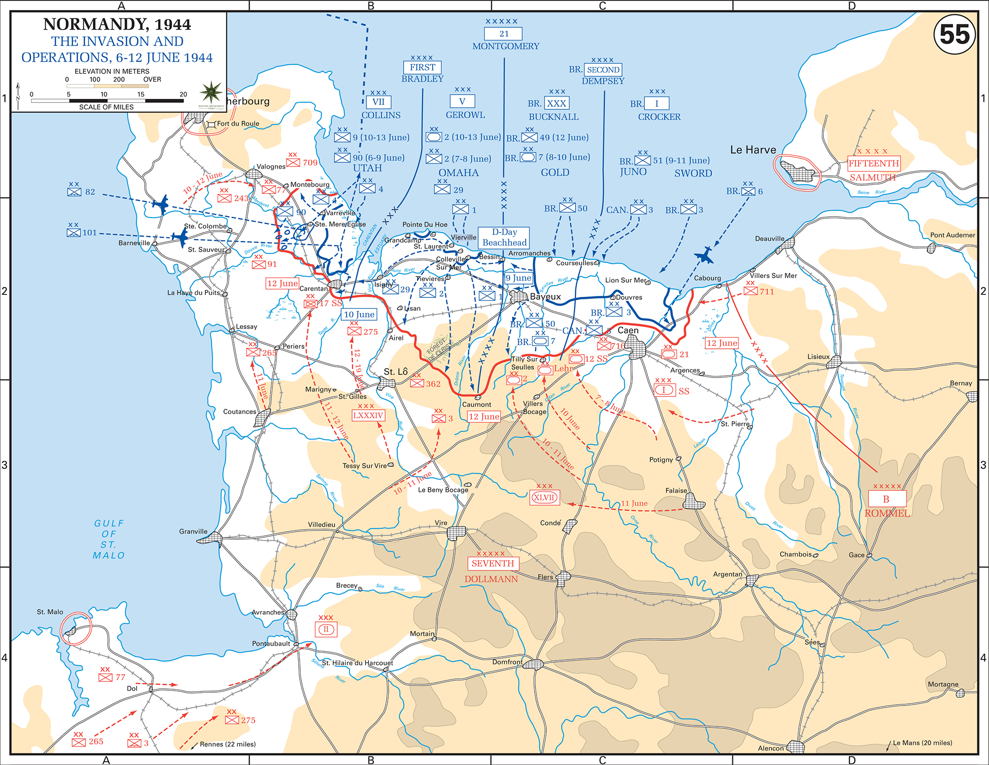 Map of WWII: Normandy Invasion June 6-12, 1944