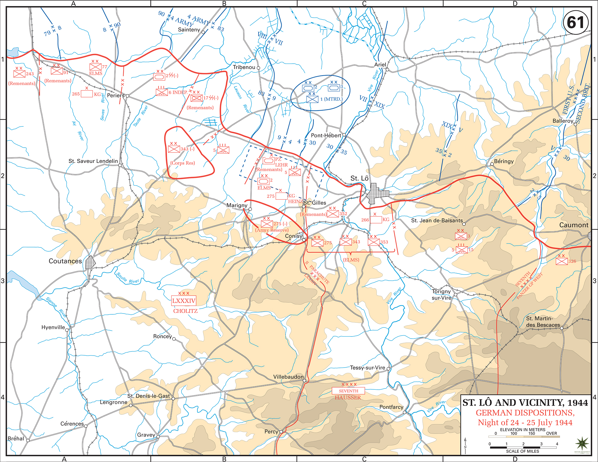 Map of WWII: Normandy Invasion. Saint-Lô (St. Lo) and Vicinity. German Dispositions at the Night of 24/25 July 1944.
