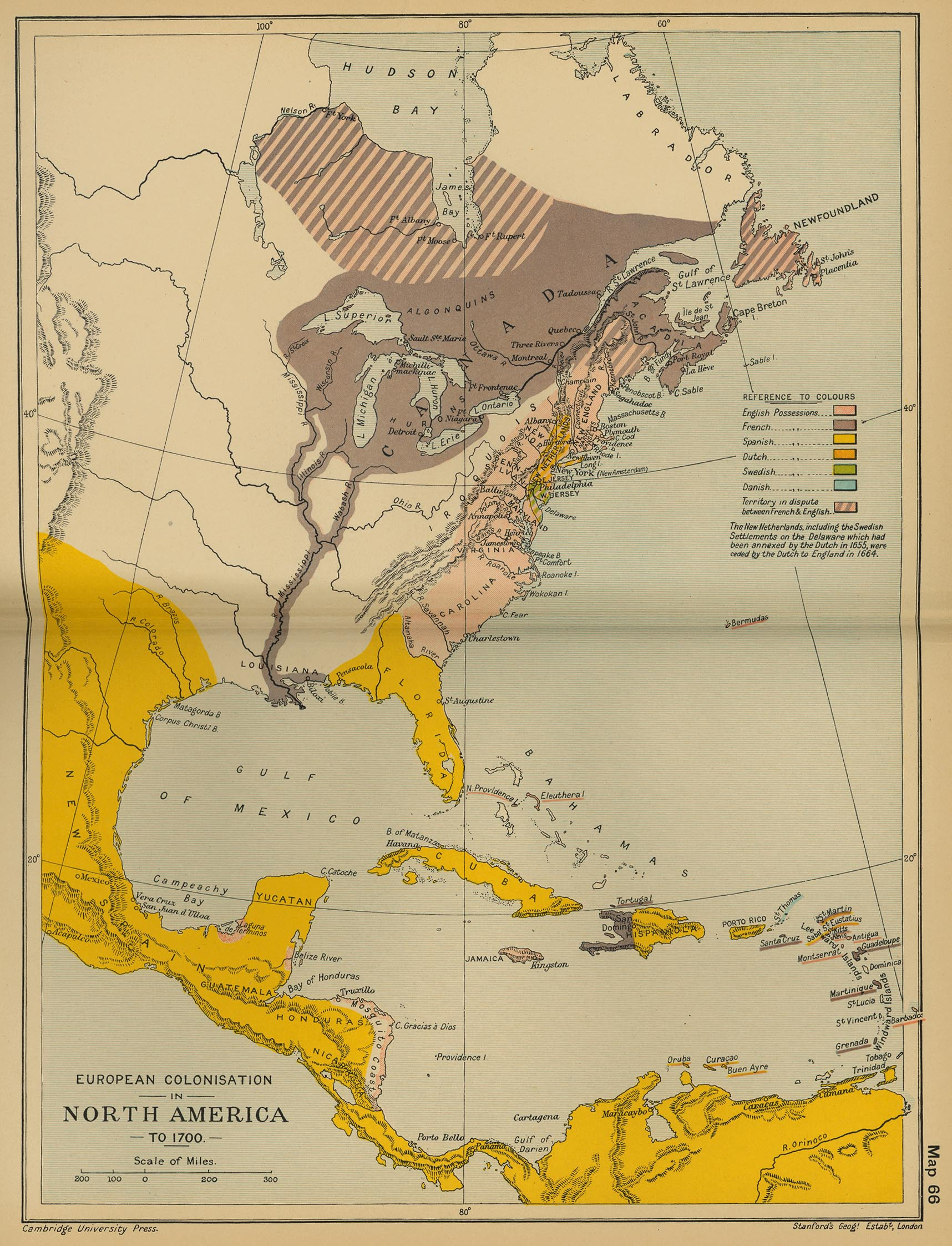 Map of the European Colonization in North America to 1700