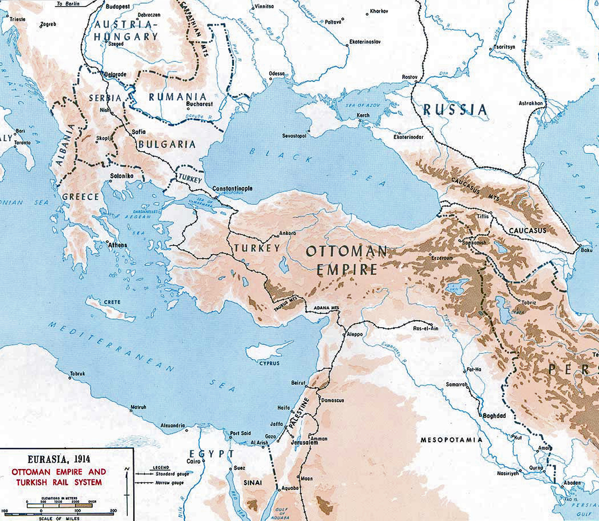 Map of the Ottoman Empire 1914