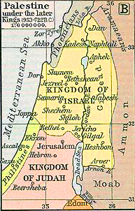 Map of the Kingdom of Israel and the Kingdom of Judah