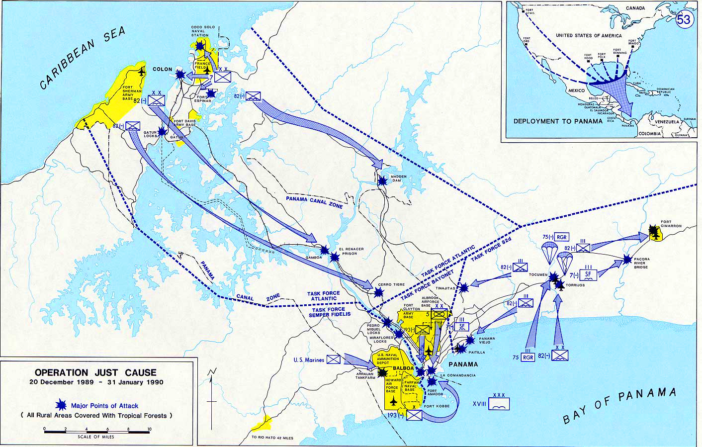 History Map of Panama 1990. Operation JUST CAUSE, December, 20, 1989 - January 31, 1990.