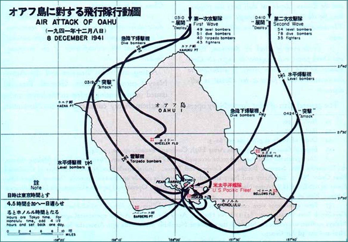 Map of Japan's Surprise Air Attack on Pearl Harbor, Oahu, Hawaii, on December 7, 1941