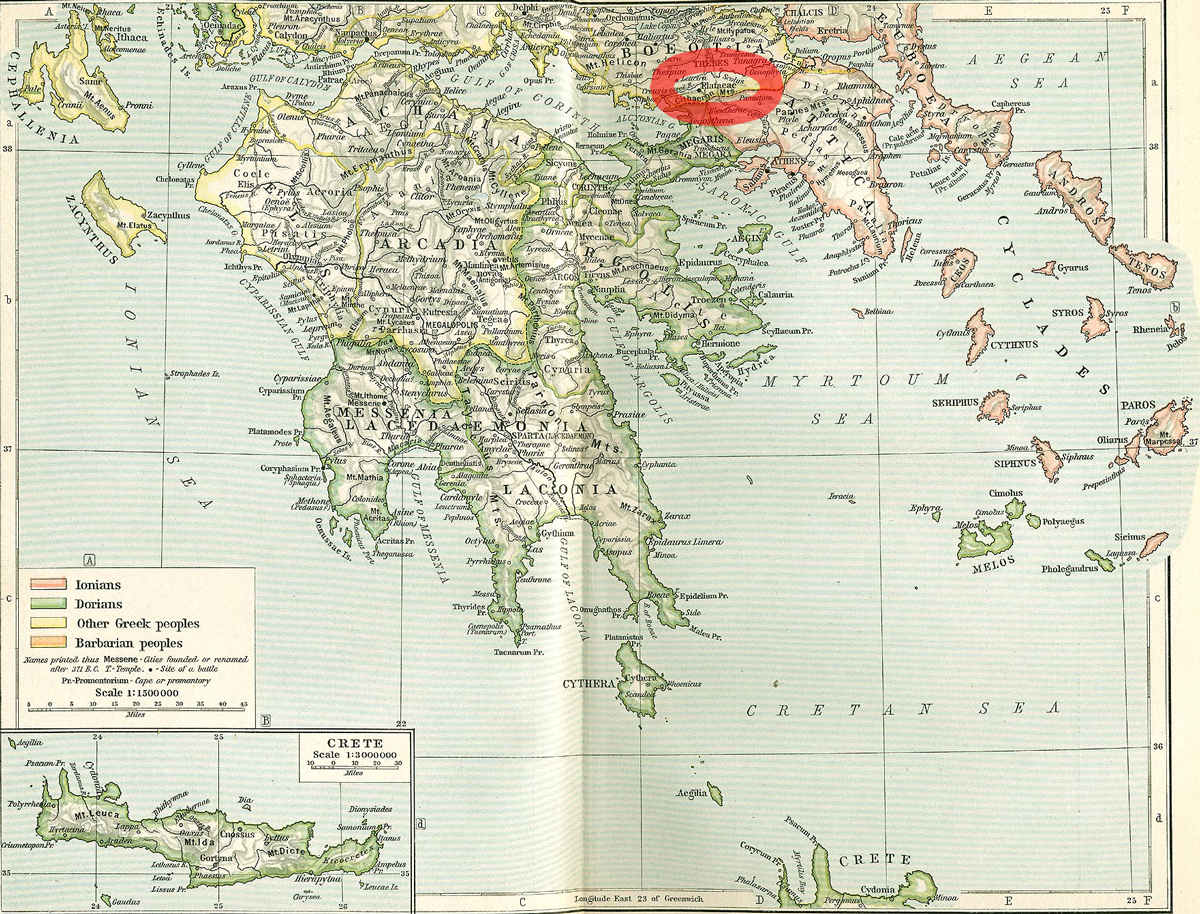 Map location of Plataea, Boeotia, Ancient Greece