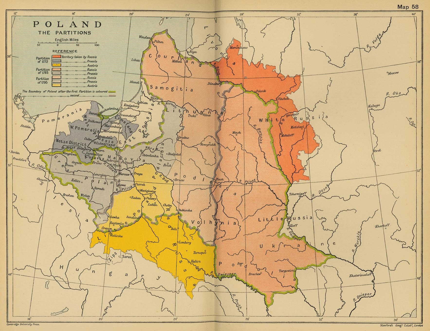 Map of Poland 1772