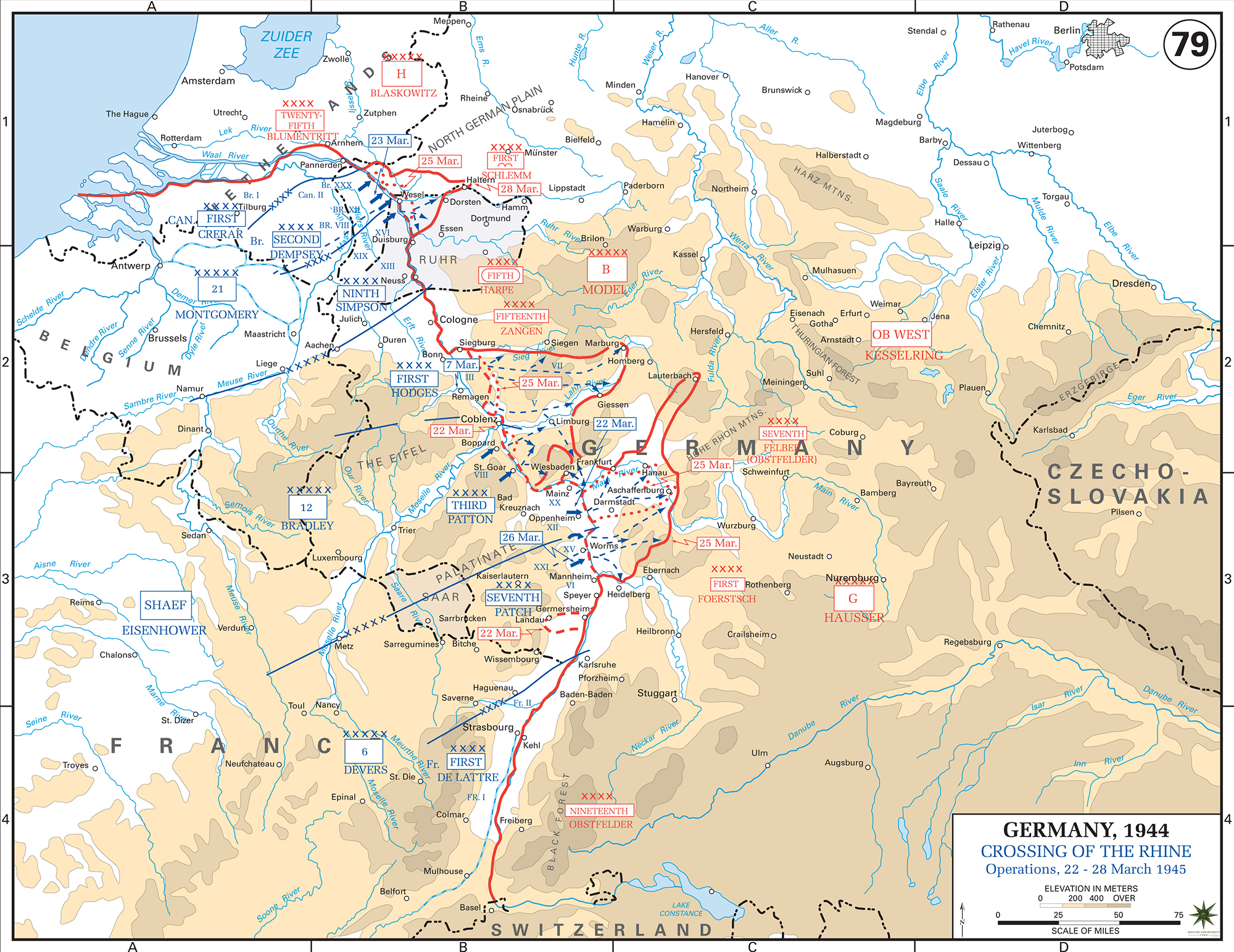 Map of world war ii european western front crossing of the rhine