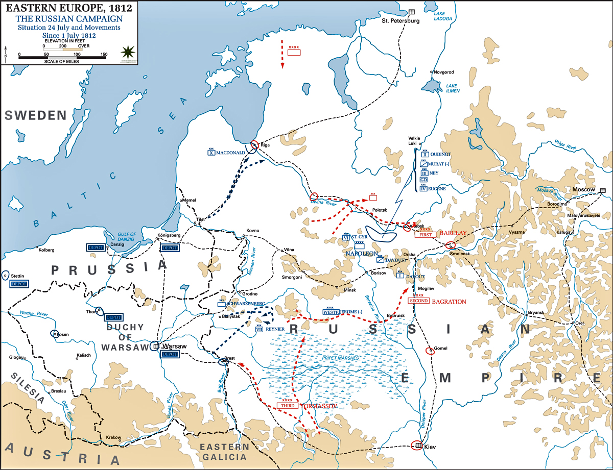 Map of the Russian Campaign 1812: July 24