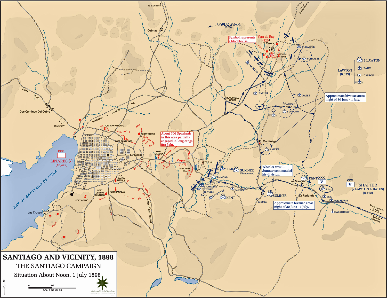 Map of the Santiago Campaign: July 1, 1898