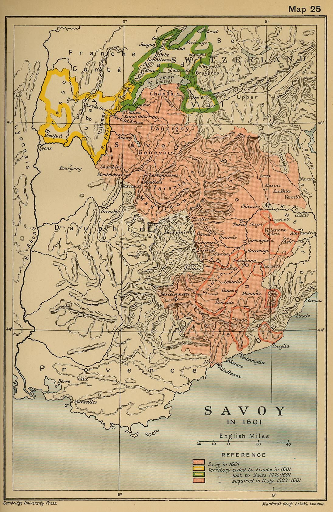 Map of Savoy 1601