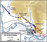 Map of the Battle of Schellenberg - July 2, 1704