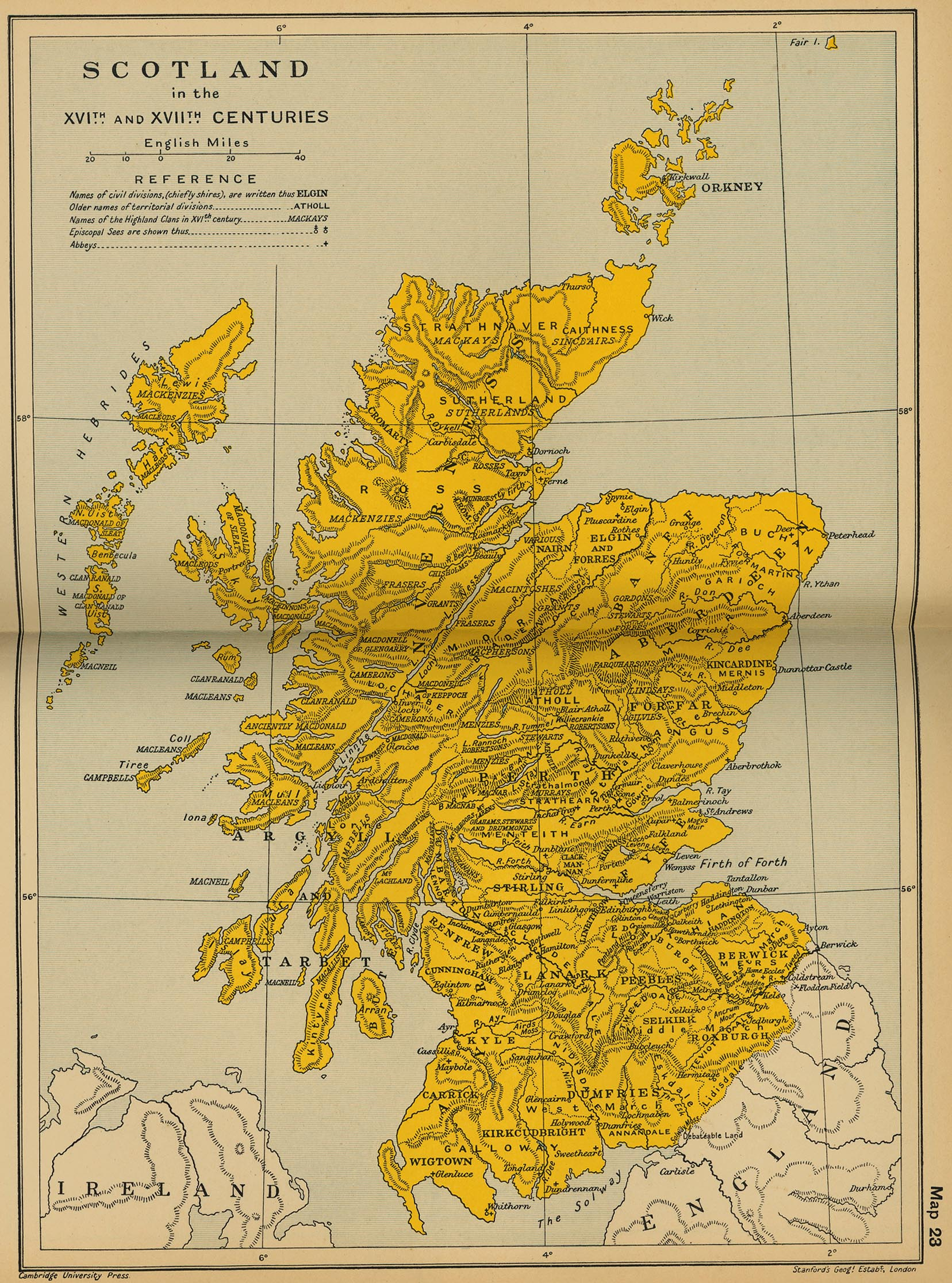 Map of Scotland 16th Century