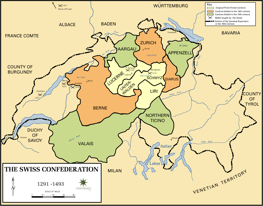 Map of the Swiss Confederation 1291