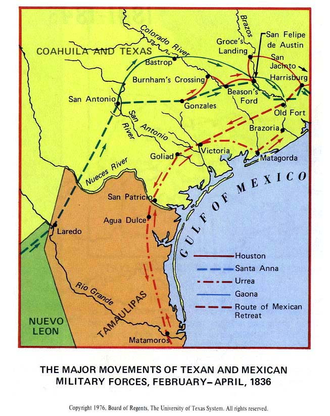 Map of the Texas Revolution 1835-1836 - The Major Movements of Texan and Mexican Military Forces, February - April, 1836