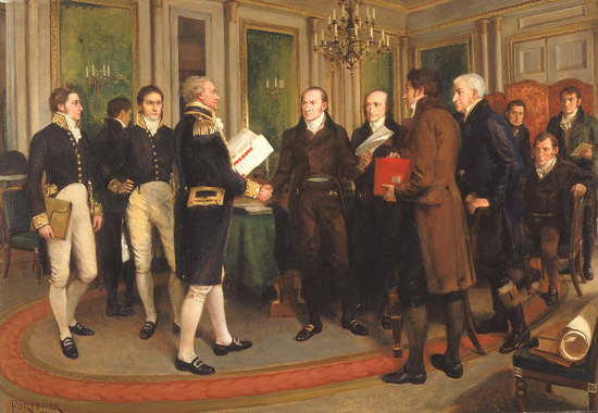 Handshake at Ghent - Admiral Lord Gambier and John Quincy Adams