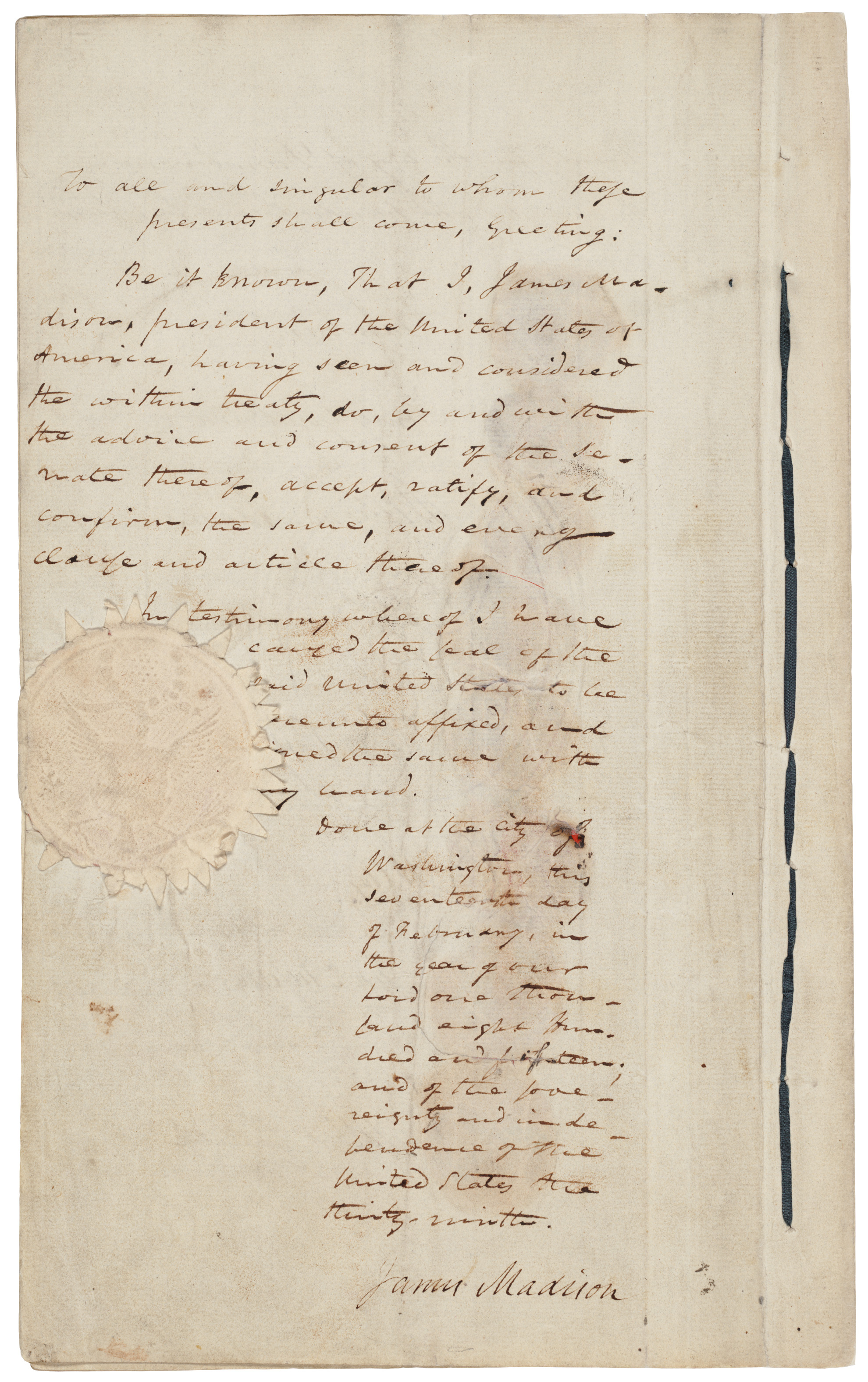 Treaty of Ghent 1814, original copy, first and last three page (President Madison's ratification)