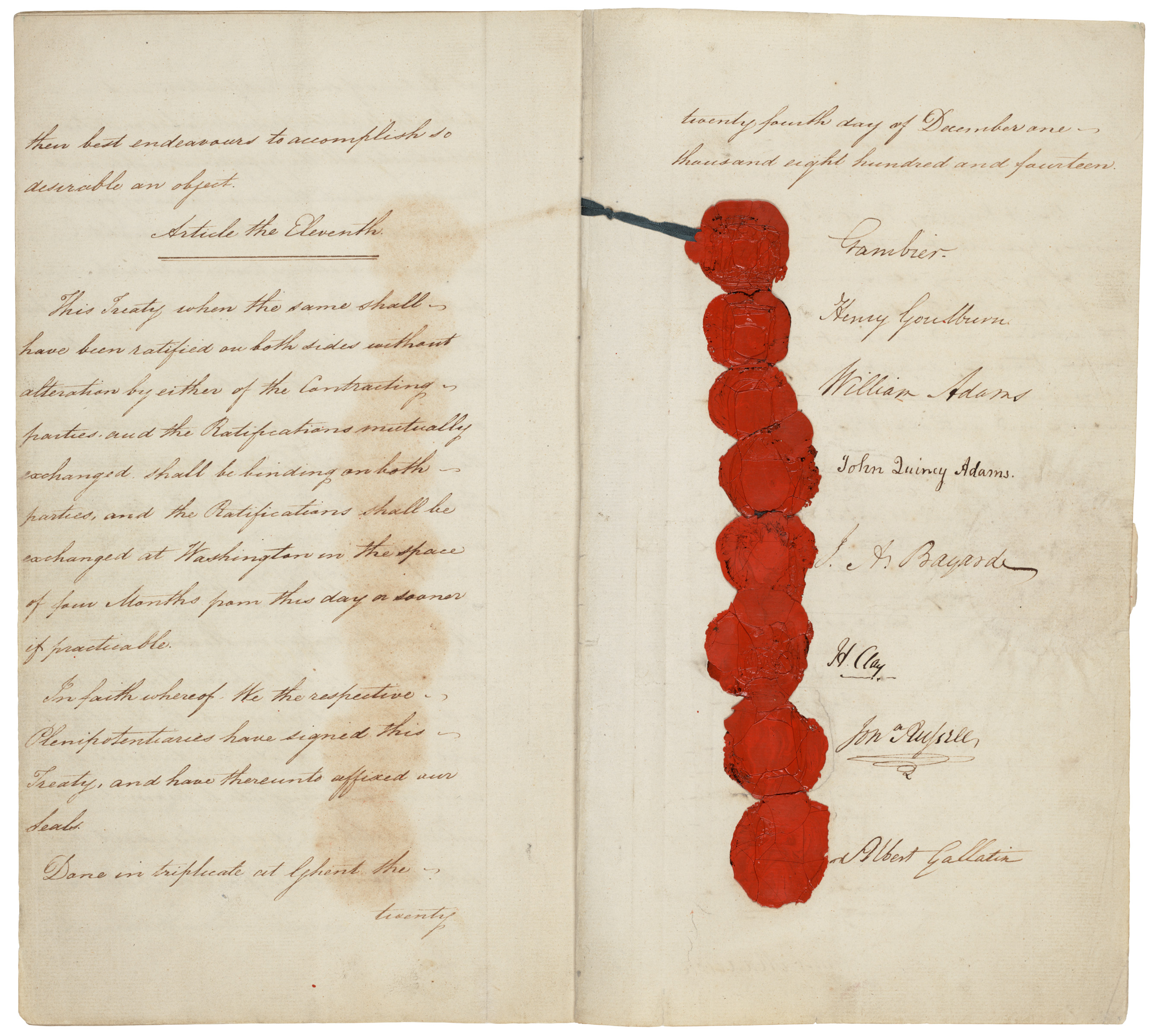 Treaty of Ghent 1814, original copy, first and last three page (seals)